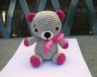 little bear amigurumi pink and grey Alpaca