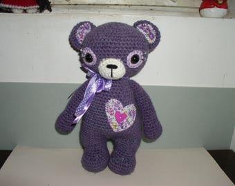 Purple bear amigurumi with fabric, beads, Ribbon and button