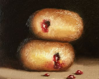 Jelly Donuts, Small Original Oil Painting still life by Jane Palmer