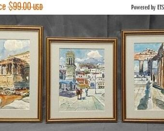 Save 15% Set of three old vintage artist signed original watercolor landscape paintings European Roman ruins
