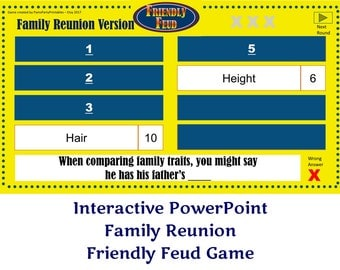 Family Reunion Friendly Feud GAME ONE- Family Feud - Interactive PowerPoint Game - Family Reunion Party Game  -  Family Friendly