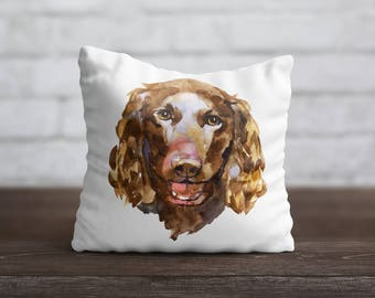 Water Spaniel PillowCase Dog Throw Pillow Name Pet Portrait Custom Toss Pillow Silk PillowCase Satin Personalized Pillow Cover Mom Gift Idea