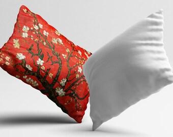 Van Gogh Pillow Living Room Cushion Cover Red Sakura PillowCase Throw Pillow Cover Silk Pillow Satin Pillow Luxury Home Decor Classic Gift
