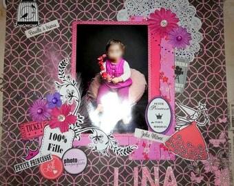 """Scrap page """"LINA"""" Customize 30cmx30cm 1 photo"""