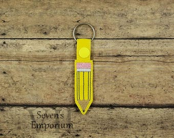 Pencil Key Fob Snap Tab Keychain Machine Embroidery Design