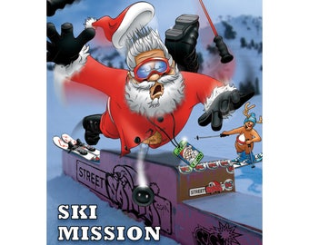 SKI CHRISTMAS CARD - Ski mission impossible - Funny Christmas card