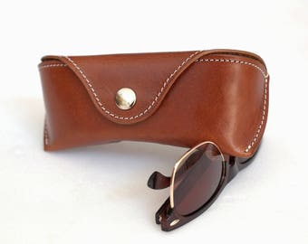 Glasses case for Wayfarer, Antique brown, Handcrafted by Celyfos®