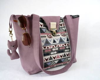 "Purple cotton canvas tote bag and fabric patterns ""Inca"""