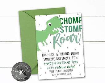 DINOSAUR Birthday, Chomp Stomp Roar! Boy Birthday, Green, Dino Party, Dino Birthday