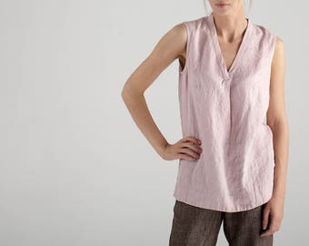 Pink Linen Top / Sleeveless Top / Loose Fitting Top / Pink Linen Blouse / Linen Top / Sleeveless blouse / Linen Tank Top / Custom Clothing