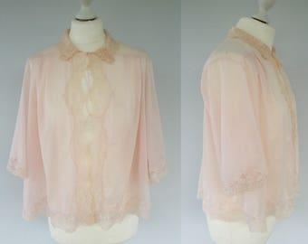 Vintage 60s Van Realte Pink Bed Jacket, Vintage Lingerie, Retro Lingerie, 1960s Bed Jacket, Pin Up Girl, Lace Bed Jacket, Size 12