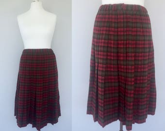 Vintage 80s Tartan Skirt, Wool Checked Skirt, Plaid Skirt, Red, Green, Retro Skirt, Winter Clothing, Warm Skirt, Kilt Style Skirt, Size 14