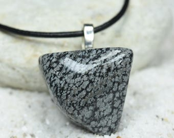Custom Tumbled Extra Large Snowflake Obsidian Stone Pendant and Necklace - Quantity of 1