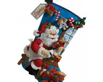 """Pre-order 2018 Finished Bucilla """"In The Workshop"""" Christmas 18"""" Stocking, Christmas Decor, Xmas Stocking, Tree, Presents"""