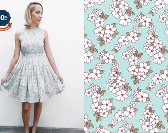 "SAMPLE SALE! Clarence Dress """"Floressence"" in Mint Floral Print"