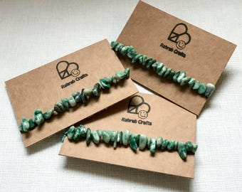 Green Jade gemstone bracelet - Prosperity - Luck - healing crystal wristband boho mottled green natural tumbled rock stone bracelet wicca