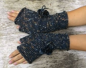 Knitted dark gray fingerless mittens Women warm arm warmers Winter mittens Long fingerless gloves Gift for her Valentines day gift for wife