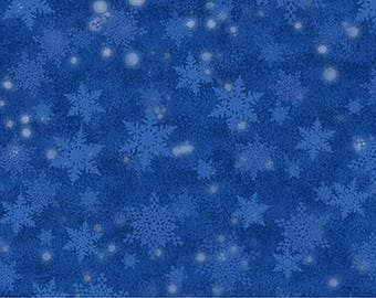 Santa Claus Is Coming To Town Blue Snowflake from Northcott by the yard