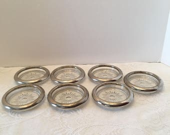 Crystal and Silver Coasters ~ Made in Italy ~ Set of Seven ~ Vintage