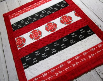 FIREMEN Fire Rescue Little and Brave~ Soft Minky Boys Girls Modern Strip Quilt Baby Blanket~ Reversible