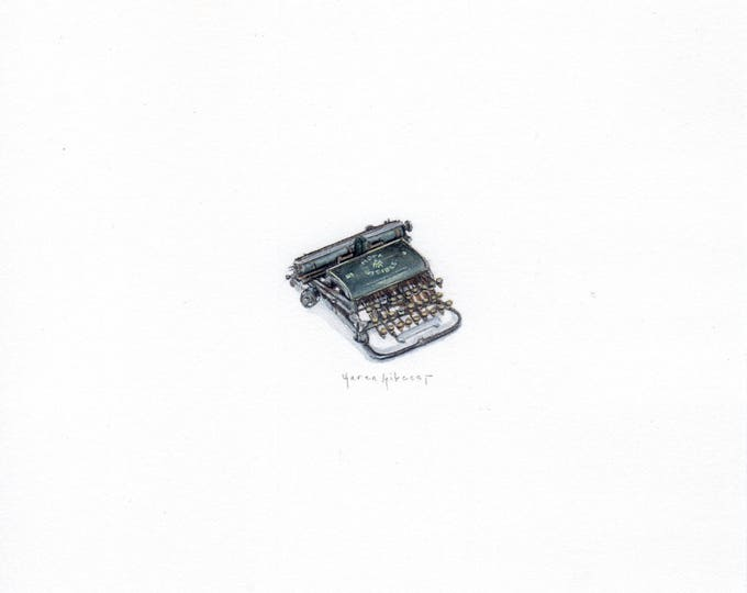 "Print of mini painting of a Vintage Typewriter. 1 1/4"" x 1 1/4"" print of original Typewriter painting on 5"" sq. german etching paper"