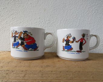 Pair of collectible vintage Popeye cups - K.F.S. Opera Mundi - 1970 - 1980s