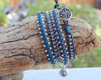 4 Wrap Leather Bracelet on Black Leather with Neutral Colors, Silver Beads and Yin Yang Charm