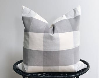 Gray & Cream Buffalo Plaid Pillow Cover 18x18