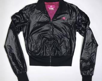 vintage black nylon Fornarina jacket with pink interior