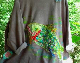 Funky Fish Artist Sweatshirt  Plus Size Ready to Ship KellyJacksonDesign