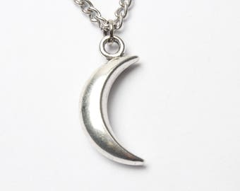 Silver Moon Necklace - Sterling Silver Moon Necklace - New Moon Necklace - Crescent moon Necklace with Moon Pendant - Half Moon Jewelry