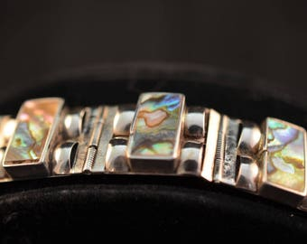 Abalone and silver hinged bracelet