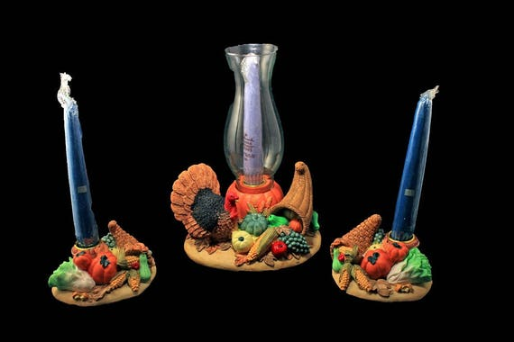 Harvest Candle Centerpiece,  HCC, 3 Piece Set, Colorful, Turkey, Cornucopia, New In Box, Candle Holders, Candle Sticks, Candles Included