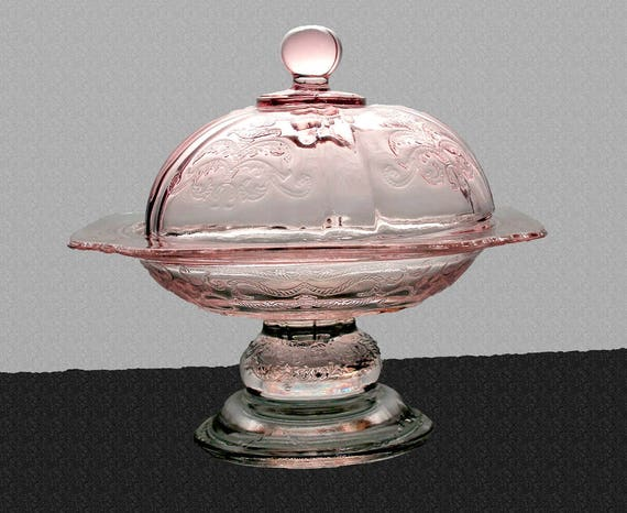 Pedestal Candy Dish, Indiana Glass, Recollection Pink, Pressed Glass, Scroll, Centerpiece, Butter Dish, Cheese Dish