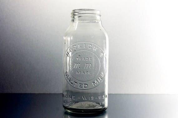Horlick's Malted Milk Bottle,  Clear Glass, Embossed, Screw Top, Circa 1920s, Nutritional Supplement, Dry Milk Powder