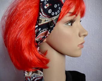 Paisley hair scarf, black and red stretch headband, black red white paisley hair wrap, black patterned bandana