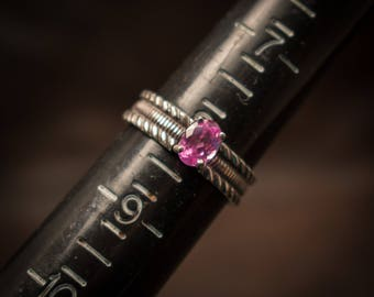 Pink Sapphire solitaire ring, Sterling silver ring with created pink sapphire,