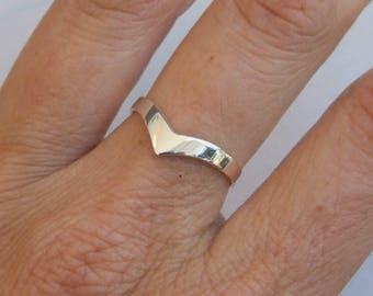 Sterling Silver Ring, Silver Chevron Ring, Silver Thick Chevron Ring, Silver Band Ring, Silver V Ring