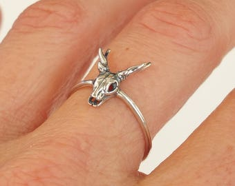 Sterling Silver Ring, Silver Antler Ring, Silver Skull Head Ring, Silver Deer Skull Ring, Silver Stag Skull Ring, Oxidized Silver Ring,