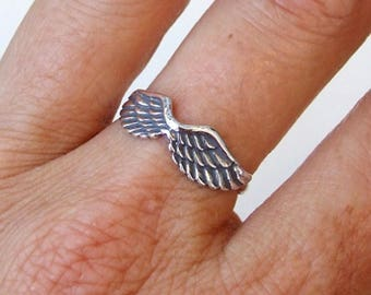 Sterling Silver Ring, Silver Angel Wings Ring, Silver Wings Ring, Silver Band Ring