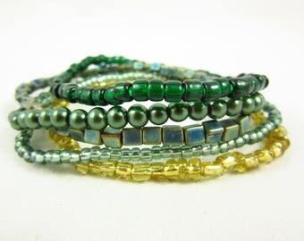 Green Stack Bracelets/Bracelet Set/Stacking Bracelets/Handmade Bracelets/Custom Bracelets/Stretch Bracelets/Beaded Stackable Bracelets