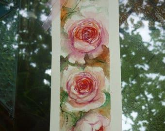 Wedding invitation, wedding favor, watercolour bookmark, Original watercolor bookmark roses, Roses Painting, Original Watercolor Painting