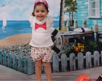 "Baby girl short in white cotton printed ""flower"""