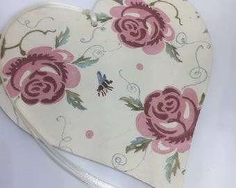 15cm Hanging Heart Decoupaged With Emma Bridgewater Rose And Bee - Valentine Gift