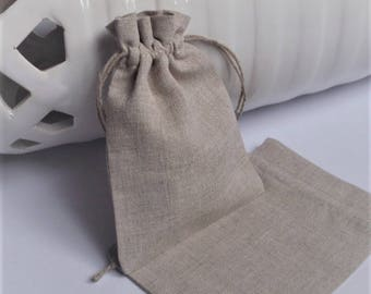 "10 Natural Linen Bags * Gift Bags * Natural Packaging * Rustic Gift Bags * Storage Bags * 3""x 4"" (8cm x 10cm)"