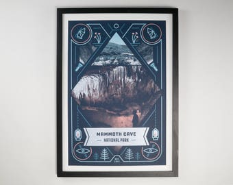 Mammoth Caves National Park Poster, Camping Print Silk Screened for Wall Decor, Screen Printed