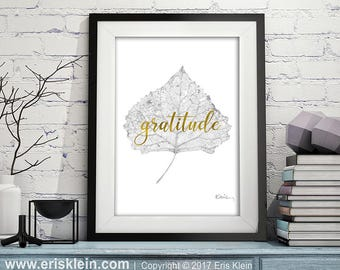 Gratitude Printable: positive affirmation print, gold foil lettering, photo of fall leaf print, positive thinking art, gratitude print