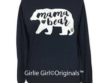 Girlie Girl Originals Mama Bear Long Sleeve Navy T-Shirt