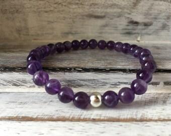 Amethyst Bracelet~Beaded Bracelet~Purple Bracelet~Gemstone Bracelet~Stretch Bracelet~Stacking Bracelet~Eleanor Rose Jewellery~UK Jewellery