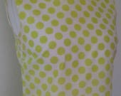 summer sale Vintage dress 60s mod scooter dress in lime green white spotted print turtle neckline size medium